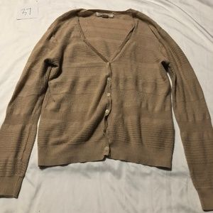 Forever 21 Cotton Tan Cardigan Button Down M